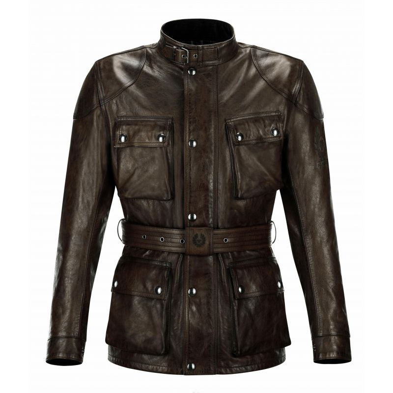 veste moto belstaff classic trophy cuir black brown. Black Bedroom Furniture Sets. Home Design Ideas