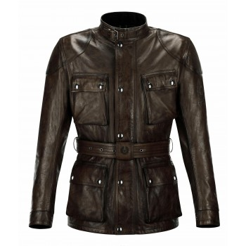 Belstaff CLASSIC TROFÉU jaqueta de couro preta / BROWN