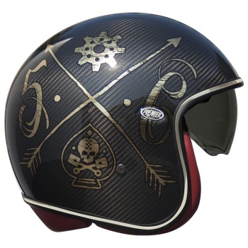 Casque moto PREMIER jet VINTAGE CARBON NX GOLD CHROMED