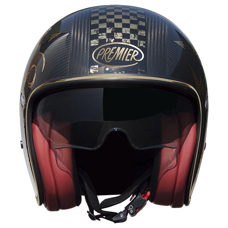 Casque Moto Premier Jet Vintage Carbon Nx Gold Chromed