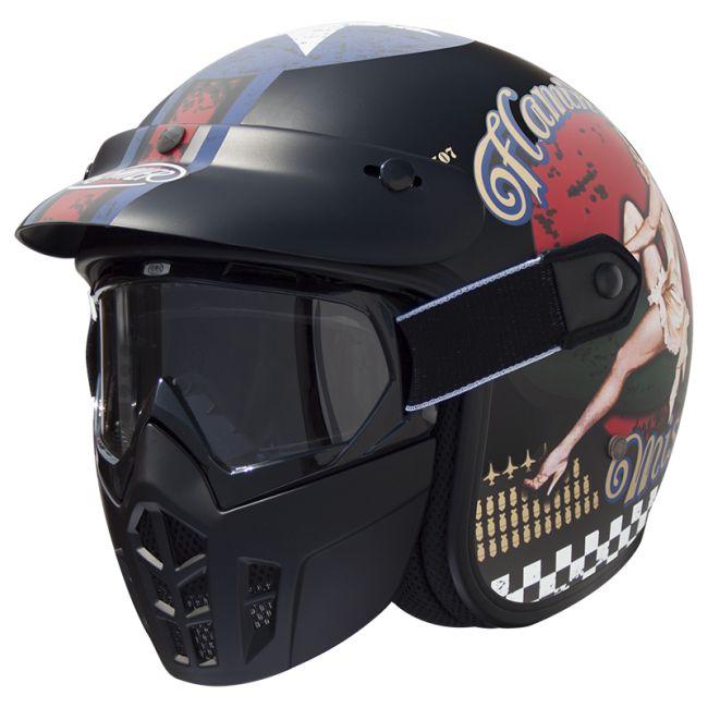 casque moto vintage premier jet mask pinup9bm noir mat. Black Bedroom Furniture Sets. Home Design Ideas
