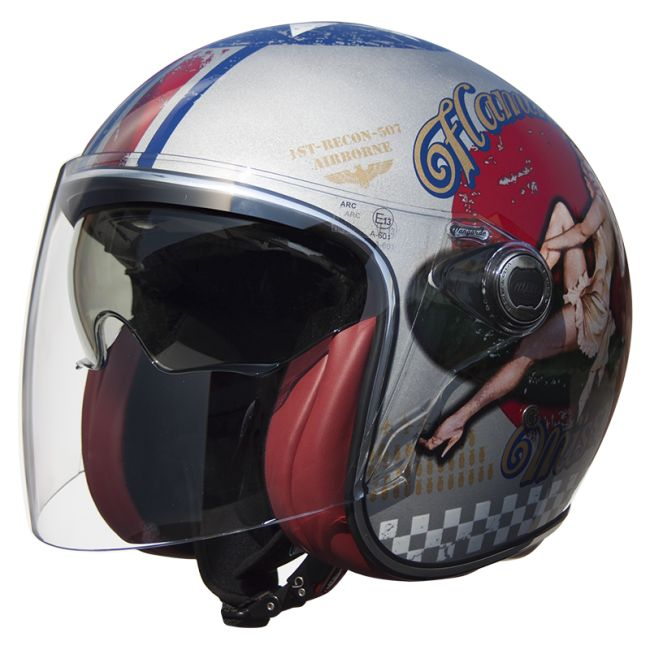 Casque moto PREMIER jet VANGARDE PINUP OLD STYLE SILVER