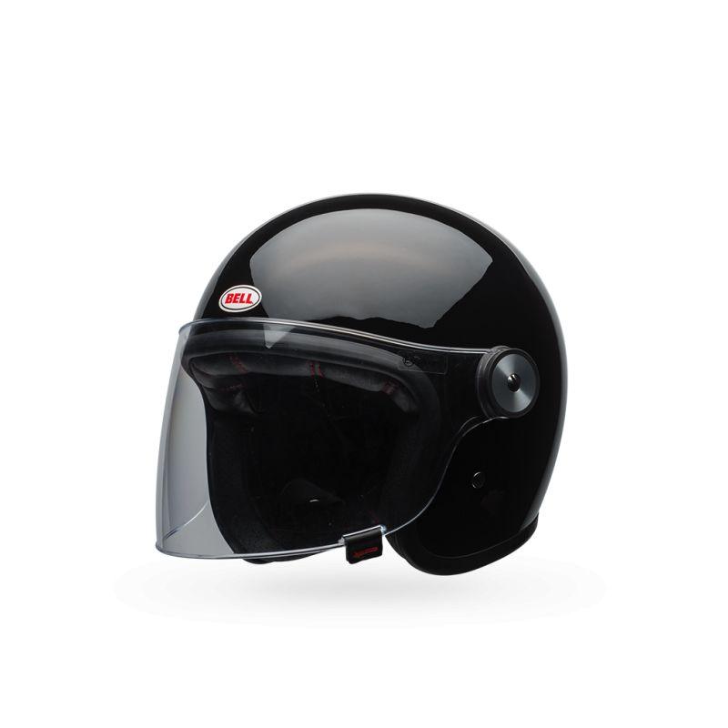 casque jet moto retro bell riot noir vintage motors. Black Bedroom Furniture Sets. Home Design Ideas