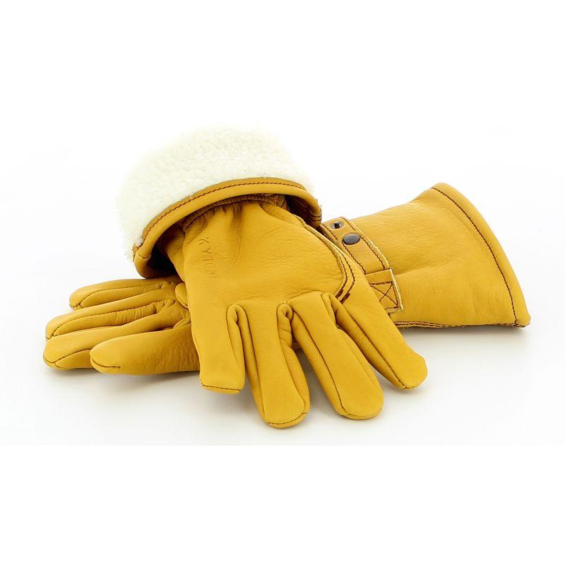 gants moto en cuir kytone doubl s beige fabriqu s en france. Black Bedroom Furniture Sets. Home Design Ideas
