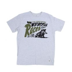 Tee shirt moto vintage Ride And Sons Motorcycle races tee gris