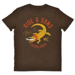Tee shirt moto vintage Ride And Sons Everglades tee chocolat