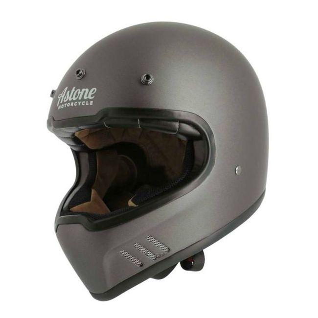 Vintage Motorcycle Helmet Full Astone Retro Super Matt Gray