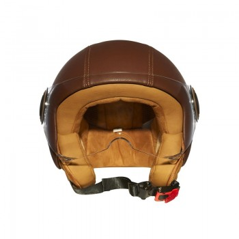 Casque Moto Jet Vintage ELEMENTS LEATHER -MÂRKÖ BROWN