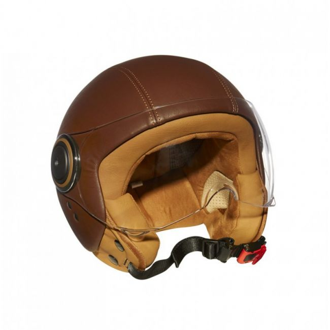 Casque Moto Vintage Mârkö Elements Leather Marko Marron