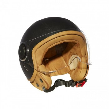 Casque Moto Jet Vintage ELEMENTS LEATHER -MÂRKÖ BLACK