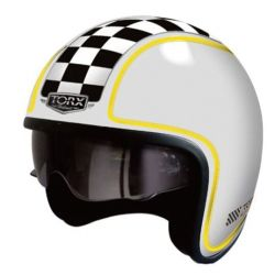Casque jet HARRY FLAG RACER WHITE SHINY