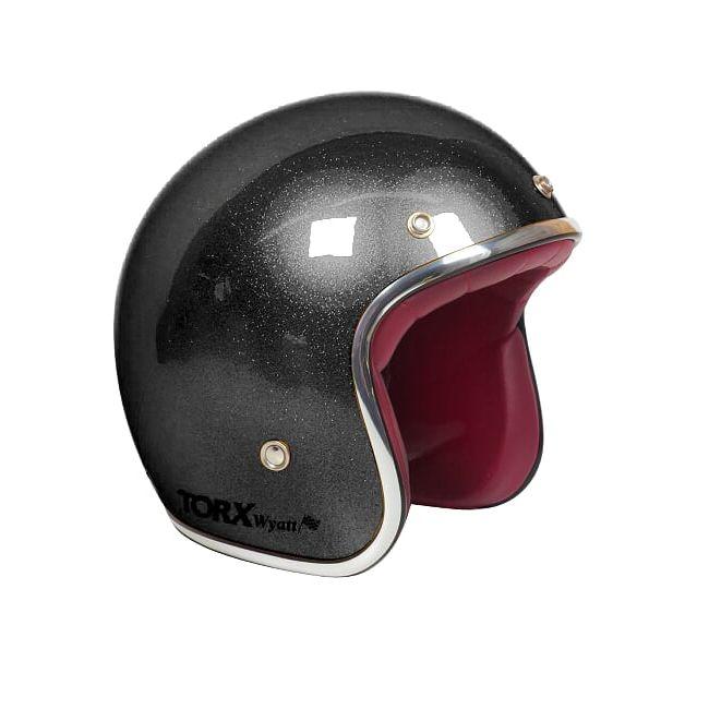 Jet Helm Torx WYATT-GLITTER Schwarz