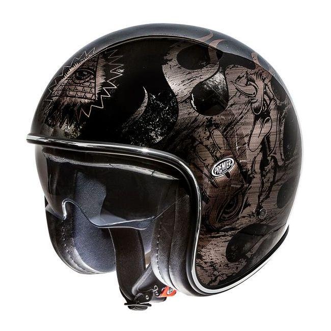 Vintage Motorcycle Helmet Jet Black Chromed Bd Premier
