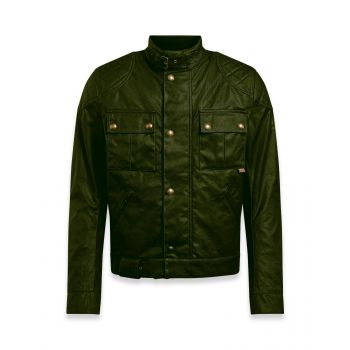 BLOUSON BROOKLANDS 2.0 WAX OLIVE GREEN-BELSTAFF