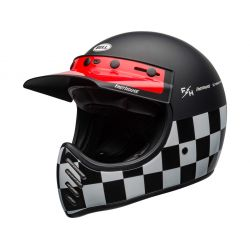 CASQUE CROSS MOTO-3 FASTHOUSE CHECKERS MATTE/GLOSS BLACK/WHITE/RED