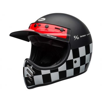 CASQUE MOTO-3 FASTHOUSE CHECKERS MATTE/GLOSS BLACK/WHITE/RED