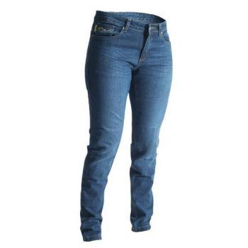 Pantalones de tela RST señoras flaco Fit aramida era la mujer azul
