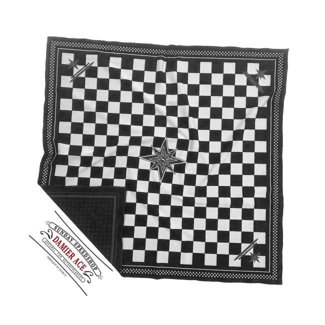 Sciarpa Domenica Speedshop ACE a scacchi bianco e nero
