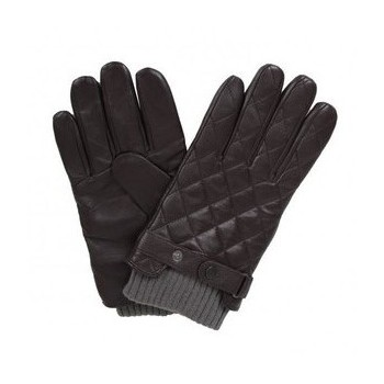 QUILTED LEATHER GLOVES BARBOUR Brown