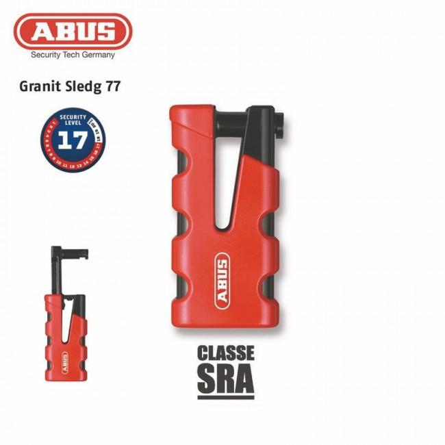 Anti-Diebstahl-Bremsscheibenschloss ABUS 77 Granite Sledg Griff rot