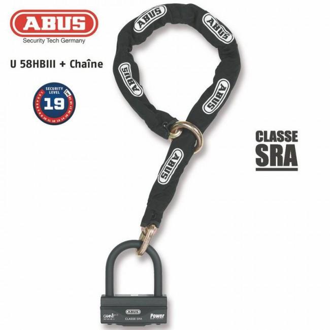 Antivol U + chaine ABUS 58HB3+12KS80L