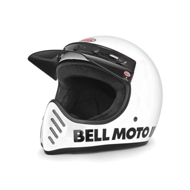 CASQUE BELL intégral motocross vintage blanc
