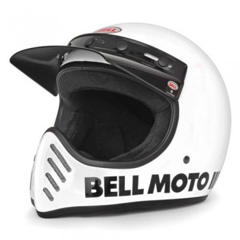 CASQUE BELL intégral motocross vintage blanc
