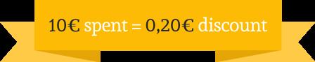 10€ d'achat = 0,20€ de remise