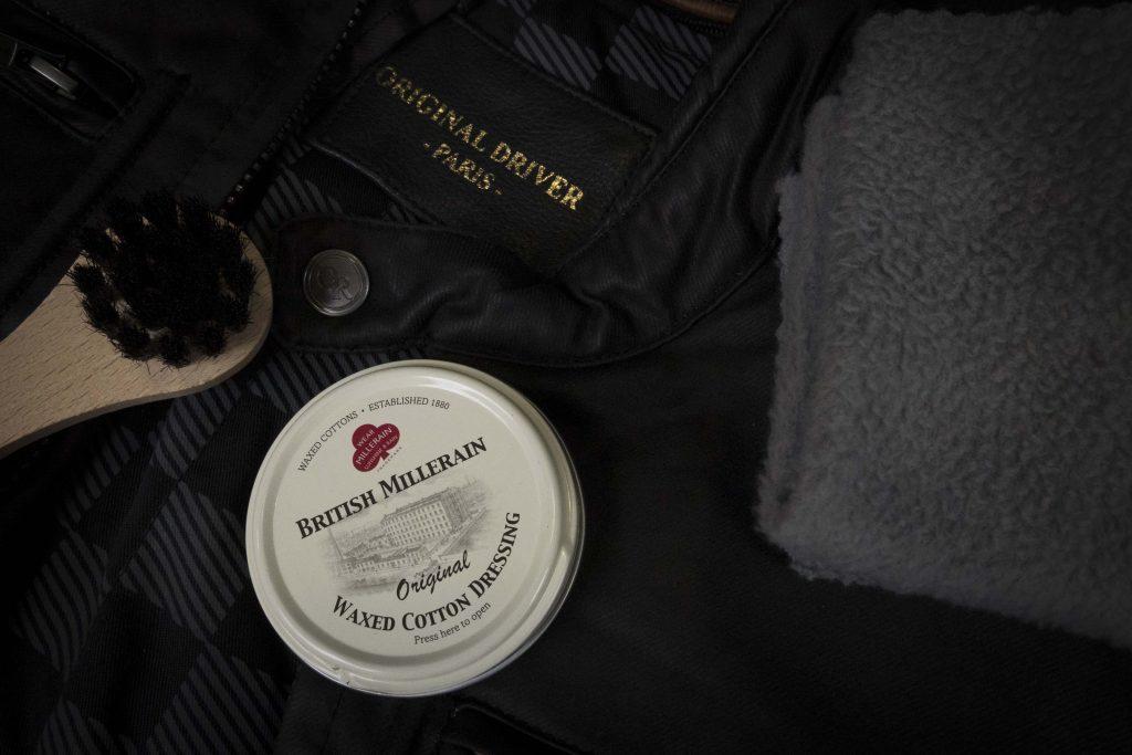 brosse, blouson moto original driver et cire wax cotton british millerain